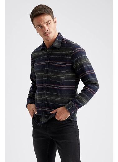 DeFacto Çizgili Uzun Kollu Modern Fit Oduncu Gömlek Haki